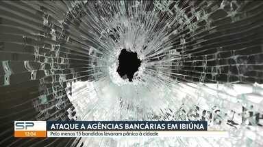 Pelo menos 15 bandidos explodem agências bancárias e levam pânico à Ibiúna - Os bandidos explodiram duas agências bancárias, atacaram shopping e espalharam terror em Ibiúna. Moradores ainda não se recuperaram da violência na madrugada desta quarta (8).