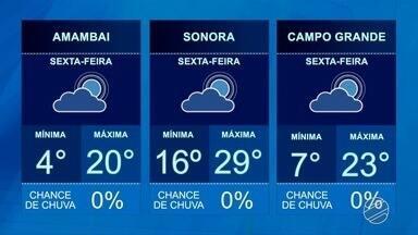 Veja a previsão do tempo para quinta-feira (09) em MS - Veja a previsão do tempo para quinta-feira (09) em MS