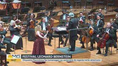 Orquestra Filarmônica faz homenagem a centenário do regente norte-americano - A sala Minas Gerais recebeu nesta quinta-feira o primeiro concerto de encerramento do Festival Leonard Bernistain da Orquestra Filarmônica de Minas Gerais. O evento é uma homenagem ao centenário do regente e compositor norte-americano que dá nome ao espetáculo.