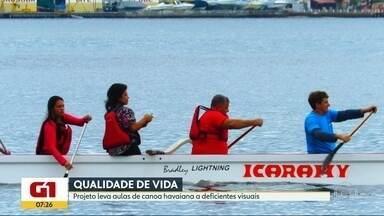 Projeto leva aulas de canoa havaiana a deficientes visuais em Niterói - O projeto foi criado pelo instrutor e apoiado pela prefeitura da cidade. As inscrições para primeira turma terminam nesta sexta-feira (10).