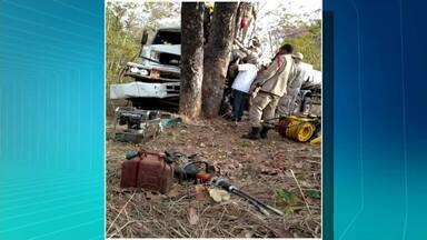Motorista fica ferido após caminhão bater em árvore e cair em ribanceira - Motorista fica ferido após caminhão bater em árvore e cair em ribanceira