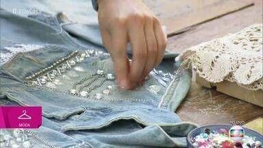Jaqueta jeans ganha, pérola e strass para ficar na moda - Confira as dicas de Flávia Pina
