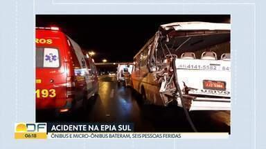 Seis pessoas ficaram feridas em acidente na Epia Sul - Ônibus atingiu a traseira de um micro-ônibus no sentido Valparaíso. Cinco viaturas dos bombeiros foram acionadas para o resgate das vítimas.