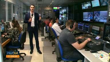 Veja a abertura do Meio Dia Paraná - O Valdinei Rodrigues mostrou os bastidores do jornal.