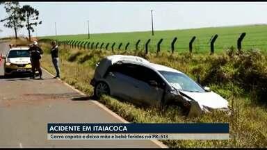 Carro capota e deixa mãe e bebê feridos na PR-513 em Itaiacoca - O acidente foi na manhã deste domingo (19).