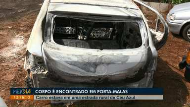 Corpo é encontrado dentro de porta-malas de carro incendiado em Céu Azul - Veículo estava abandonado perto da BR-277.