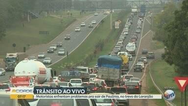 Motoristas reclamam de tráfego intenso em trevo de Paulínia - Os principais problemas ocorrem nos horários de pico.