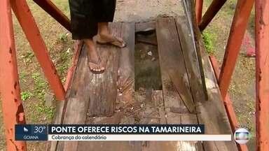 Ponte em estado precário põe em risco a segurança da população - Problema ocorre no bairro da Tamarineira, na Zona Norte do Recife