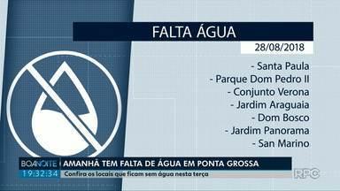 Amanhã vai faltar água em alguns bairros de Ponta Grossa - O abastecimento só retorna depois das 20h.