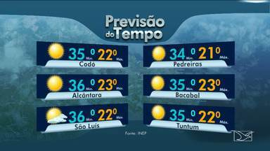 Veja as variações das temperaturas no Maranhão - Previsão para esta quinta-feira (30) será de sol entre nuvens em grande parte do estado.