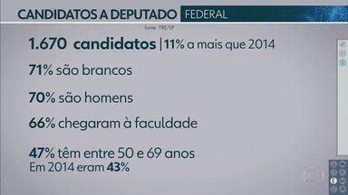 Conheça o perfil dos candidatos a deputado federal por São Paulo - Em São Paulo, são 1.670 candidatos a deputado federal, 11% a mais que 2014. Do total, 66% fizeram faculdade e 47% têm entre 50 e 69 anos.