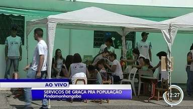 Voluntários de igreja em Pinda oferecem serviços à população - Tem consultoria jurídica, corte de cabelo e atendimento odontológico de graça.