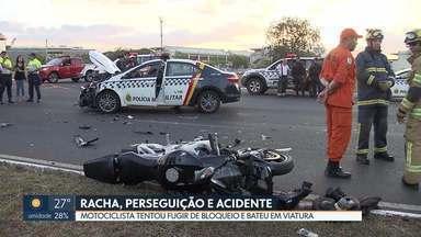 Racha entre motos termina em perseguição e acidente - Motociclista bateu em uma viatura enquanto fugia, depois de ser visto pela polícia em um racha no Noroeste.