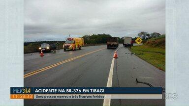 Passageiro morre em acidente na BR-376, em Tibagi - Motorista e outros dois passageiros ficaram feridos.
