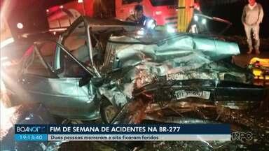 PRF registra três acidentes graves no fim de semana, na BR-277, na Região de Guarapuava - Duas pessoas morreram e oito ficaram feridas.