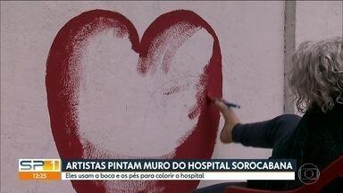 Artistas pintam muro do Hospital Central Sorocabana em SP - Eles usam a boca e os pés para colorir o hospital