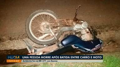 Uma pessoa morre após acidente na BR-277, em Ibema - Carro e moto bateram de frente. Piloto da moto morreu.