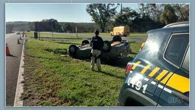 Mulher fica ferida em acidente na BR 376, em Ponta Grossa - Foi em frente ao Parque Estadual de Vila Velha.