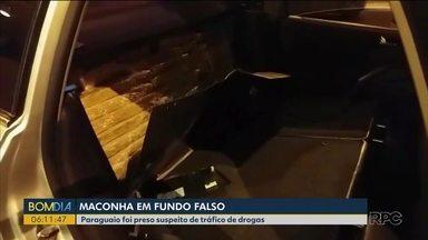 Polícia prende homem que transportava maconha em fundo falso de carro - Ele levava 144 quilos da droga.