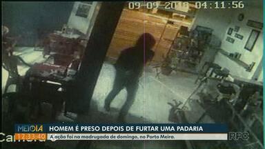 Homem é preso após furtar padaria no Porto Meira, em Foz do Iguaçu - Ação foi na madrugada de domingo (9).