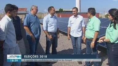 Confira a agenda de compromissos dos candidatos ao governo do AP nesta quarta-feira, 12 - Waldez (PDT) esteve em um parque industrial de energia solar. Capi (PSB) caminhou pelo bairro Novo Horizonte. Davi (DEM) cumpre agenda em Brasília.