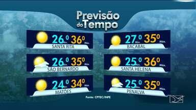 Veja as variações das temperaturas no Maranhão - Segundo a previsão do tempo a quinta-feira (13) será um dia de sol com altas temperaturas em todo o estado.