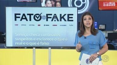 """Selos de 'fato ou fake' em publicações ajudam a identificar o que é verdade ou mentira - Um serviço de checagem de conteúdos duvidosos ajuda a analisar o que é fato ou fake em sites. Caso uma informação seja verdadeira, ganha o selo de """"fato"""", mas ser for falsa vem como o selo de """"fake"""". Ainda tem o selo de """"não é bem assim"""", quando a afirmação não é totalmente verdadeira."""