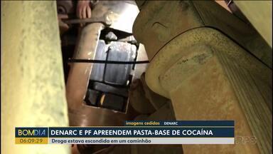 Denarc e Polícia Federal apreendem pasta-base de cocaína - A droga estava escondida em um caminhão.