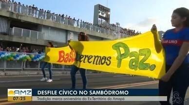 Desfile de 13 de setembro em Macapá pediu 'pare' a toda forma de violência, no AP - Um total de 2,5 mil alunos de 39 escolas estaduais desfilaram na quinta-feira (13) no Sambódromo da capital
