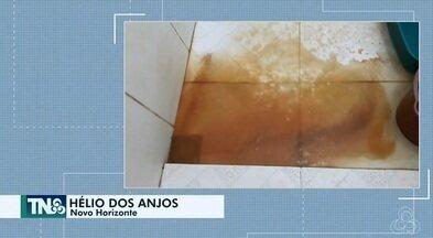 Tô na Rede: situação da água que chega na comunidade do Novo Horizonte, no AP - Internauta registra pelo aplicativo da Rede Amazônica, água de cor amarelada sem condições de ser consumida e até realizar atividade doméstica