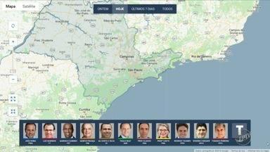 Confira agenda dos candidatos ao governo do estado nesta segunda-feira - Mapa mostra onde candidatos fizeram campanha na manhã desta segunda-feira (17).