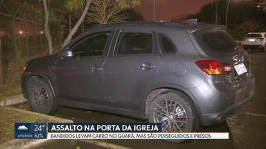 Professora é assaltada na saída da igreja - Uma professora que saía da igreja com dois sobrinhos, no Guará II, foi rendida por bandidos que levaram o carro dela.