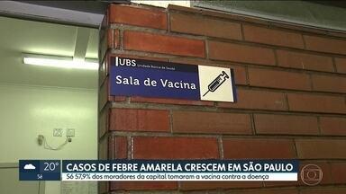 Número de casos de febre amarela em SP já é cinco vezes maior do que em 2017 - No ano passado, São Paulo teve 103 casos da doença. De janeiro a agosto de 2018, foram 537. Na capital, menos de 60% dos moradores estão imunizados.