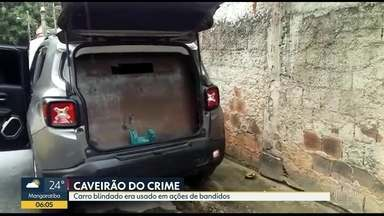 Polícia apreende carro blindado usado por bandidos em Angra dos Reis - O veículo foi apreendido no bairro Camorim Grande. Ele tinha uma chapa de aço de doze milímetros. A polícia informou que o carro era usado para transportar o chefe do tráfico e assaltar carros fortes.