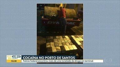 Receita e Polícia Federal encontram mais de uma tonelada de cocaína no Porto de Santos - Droga estava escondida em um terminal do porto, no litoral do estado.