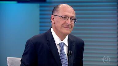 Geraldo Alckmin (PSDB) é entrevistado no Jornal da Globo - O candidato do PSDB à Presidência foi entrevistado, na bancada do JG, por Renata Lo Prete.