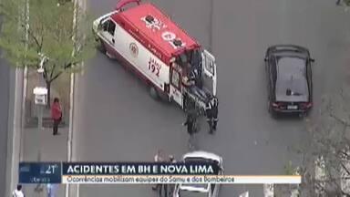 Belo Horizonte e Nova Lima têm manhã marcada por acidentes - Ocorrências mobilizam equipes do Samu e dos Bombeiros