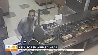 Bandido é reconhecido por crimes em Águas Claras - Comerciantes denunciam ladrão que fez assaltos em lanchonete, sorveteria, loja de refeições congeladas e de roupas infantis. Ele já foi preso por um dos crimes, mas como não foi flagrante, vai responder em liberdade.