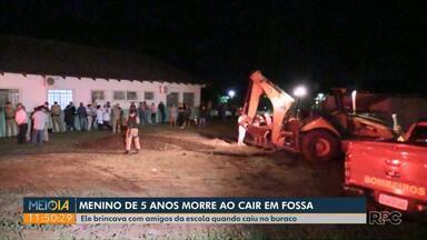 Criança morre depois de cair em fossa, no norte do Paraná - Suspeita é que ele brincava no local quando a fossa cedeu.