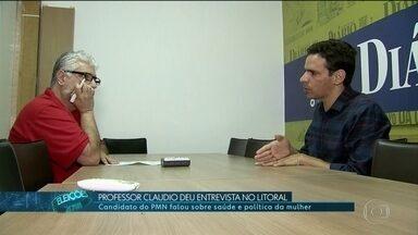 Professor Claudio (PMN) dá entrevista no litoral - Professor Claudio, candidato ao governo de SP pelo PMN, deu entrevista e falou sobre saúde e política da mulher.