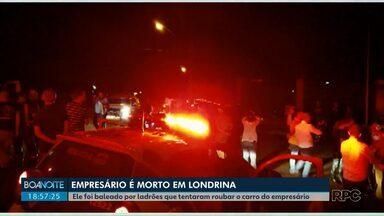 Empresário é morto em tentativa de roubo em Londrina - Ele estava saindo de casa quando foi abordado por ladrões que queriam levar o carro. Um dos bandidos se assustou e disparou. O tiro acertou a cabeça do empresário.