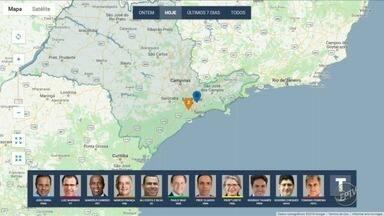 Confira agenda dos candidatos ao governo do estado nesta sexta-feira - Mapa mostra onde candidatos fizeram campanha na manhã desta sexta-feira (20).
