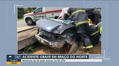 Motorista de 35 anos morre em acidente na SC-370, em Braço do Norte - Motorista de 35 anos morre em acidente na SC-370, em Braço do Norte