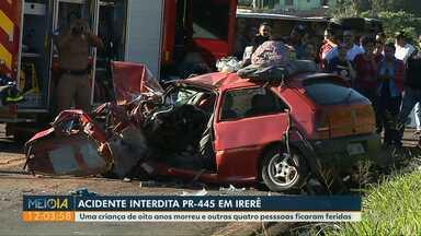 Criança de oito anos morre em acidente na PR-445 - Outras quatro pessoas ficaram feridas