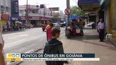 Pesquisador da UFG conclui que 40% dos pontos de ônibus de Goiânia não tem proteção - Prefeitura da capital deve iniciar ainda este ano substituição das estruturas.