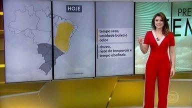 Temporal no centro-sul e tempo seco no nordeste; veja os principais contrastes da previsão - Saiba também como fica o tempo em São Paulo e no Rio de Janeiro, até o fim da semana.