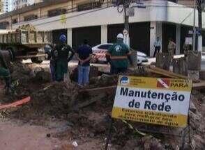 Obras de reparo em vazamento no Umarizal entra nop terceiro dia - Abastecimento está comprometido na área.