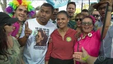 Candidato da Rede, Marina Silva, faz campanha em João Pessoa - Jornal Nacional mostra como foram as atividades de campanha de candidatos à presidência nesta segunda-feira (1º).