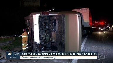 SP1 - Edição de quarta-feira, 3/10/18 - Polícia investiga acidente com ônibus na Castello Branco que deixou 4 mortos.Quase 4 milhões de passageiros da CPTM foram afetados por problemas com trens de carga.Exposição em SP relembra a ditadura e os 50 anos do AI-5.