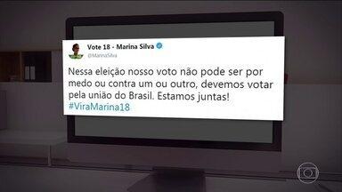 Marina Silva não fez campanha de rua nesta quinta-feira (04) - De acordo com a sua assessoria, a candidata da Rede não teve atividades na manhã desta quinta-feira (04).